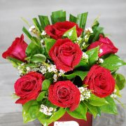 Valentine Flowers – Best Friend 2- Red rose in Red Vase small