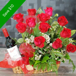 Valentine Flowers - Captivating - Red Wine with Roses