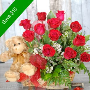 Valentine Flowers - Captivating - Teddy Bear with Roses