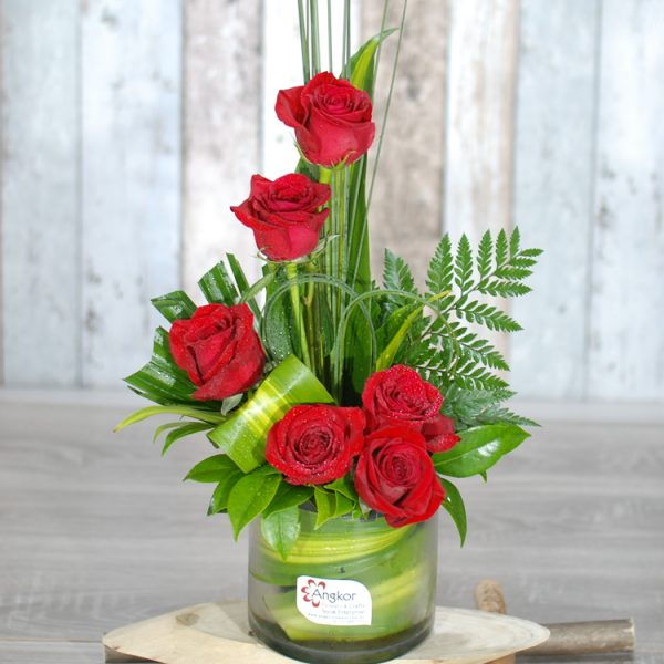 Valentine Flowers – Only You- Red rose in Glass Vase