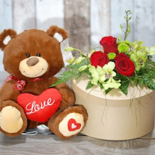 Valentine Teddy Bear Gift Box- Joe 30cmH in Brown Box