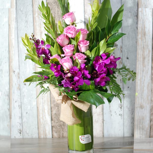 Beautiful and Elegant Pink Arrangement in Glass Vase