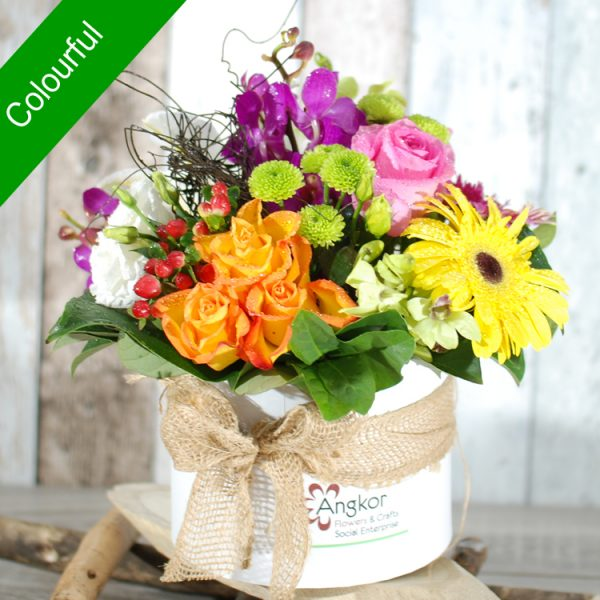 Stylish Hatbox Arrangement – Colourful- Premium