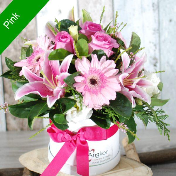 Stylish Hatbox Arrangement – Pink – Standard