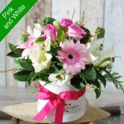 Stylish Hatbox Arrangement -Pink and White Small