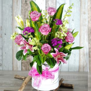 Stylish and Classic Hatbox Arrangement - TALL in purple