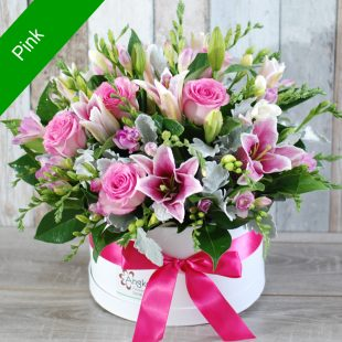 Spectacular Stylish Hatbox Arrangement