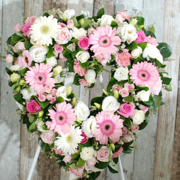 Funeral Flower Wreath- Always Be – Pink and White