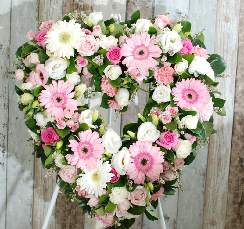 Funeral Flower Wreath Always Be Pink And White Wh34p Angkor Flowers