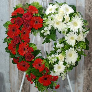 Funeral Flower Wreath- Always Be in Red and White