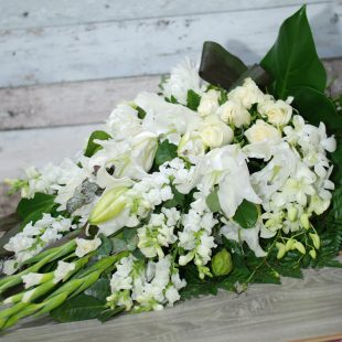 Funeral Flowers Sheaf - Loving Memory in White