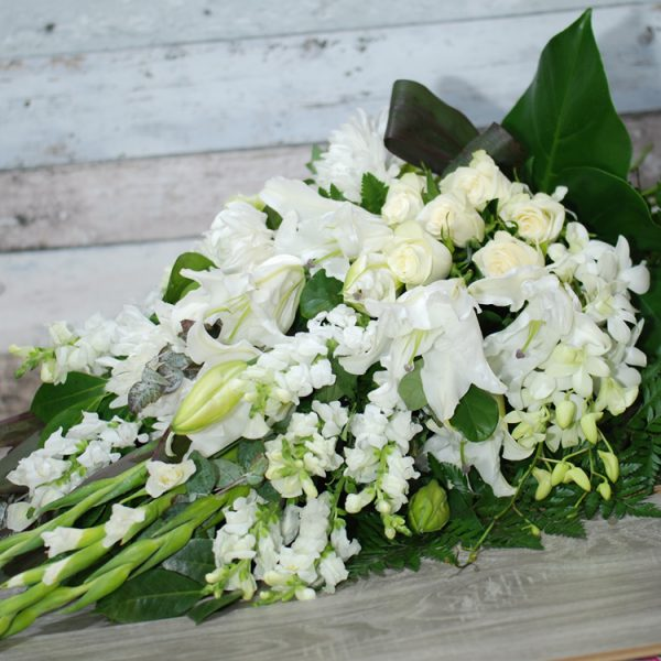 Funeral Flowers Sheaf – Loving Memory in White