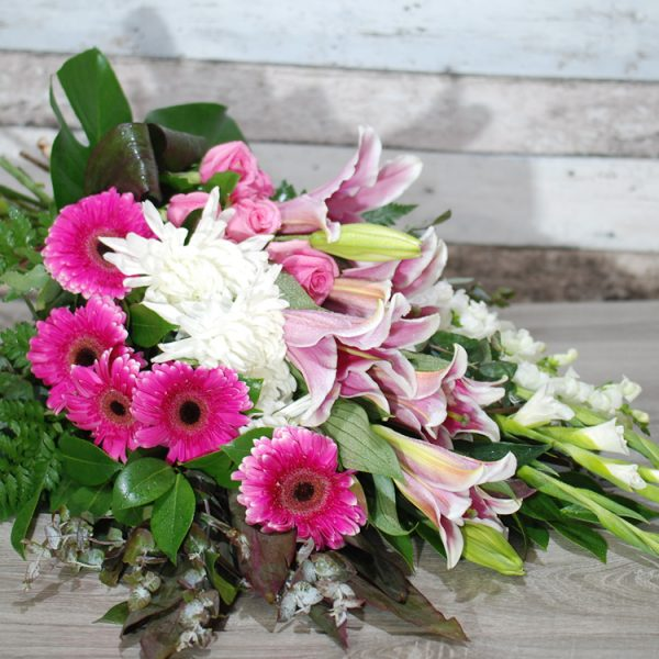 Funeral Flowers Sheaf – Loving Memory in pink2