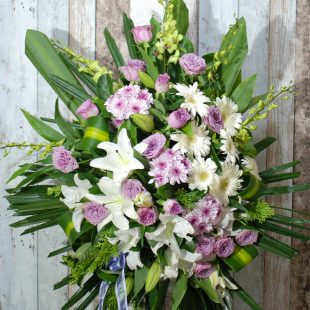 Funeral Flowers Sprays Easel- Wishing Purple Sprays-angkorflowers