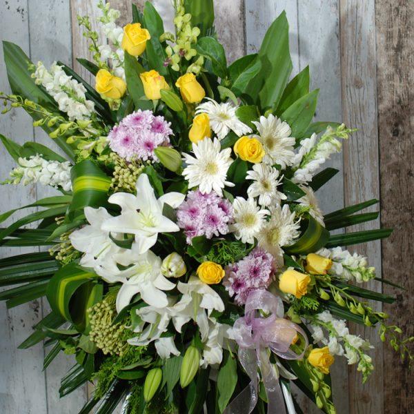 Funeral Flowers Sprays Easel- Wishing Yellow Sprays-angkorflowers