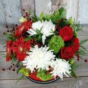 Blushing Red and White1- Hatbox arrangement