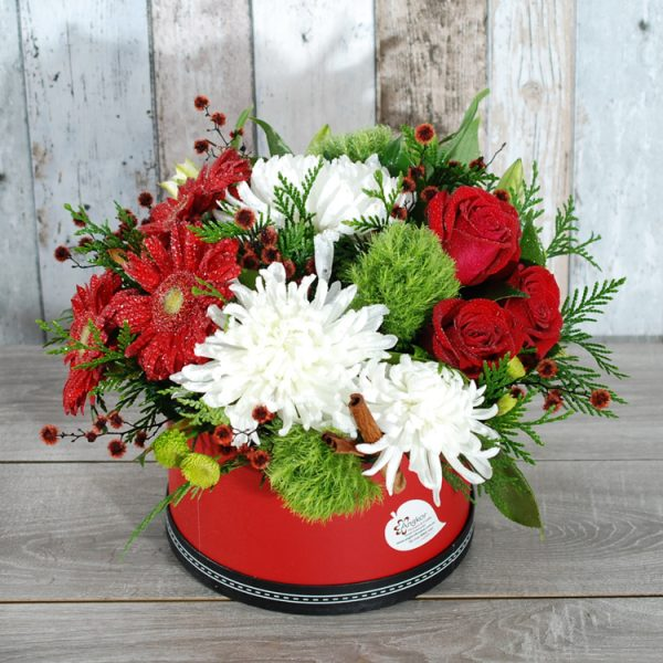 Blusing Red and white- Hatbox Arrangement