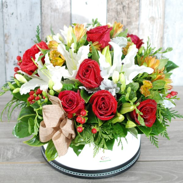 Hatbox Arrangement- Stylish red and white