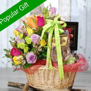 Christmas Hampers- Joyful Christmas- Flowers and Fruits and Chocolate