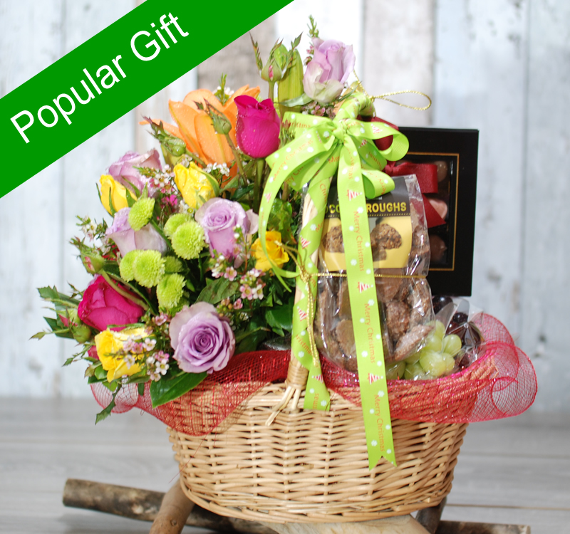 Flower Girl Baskets Sydney : Joyful hamper fruits chocolate and flowers gh