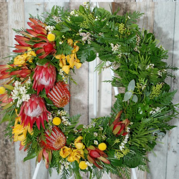 Funeral Flowers Wreath- Native Red and Yellow