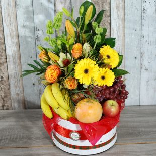 Gift Hamper- Cheer full box, flowers and fruit