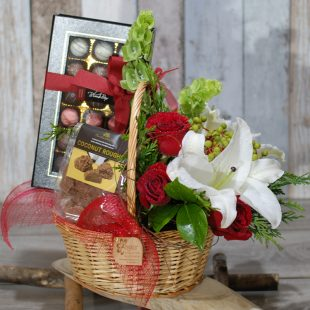 Gift Hamper- Christmas Basket- Chocolate and Flowers