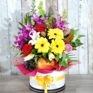 Gift Hamper- Delight Hatbox Gift, Fruit, Flowers