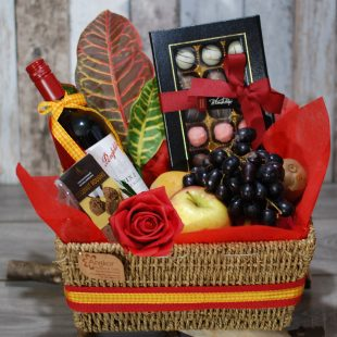 Gift Hamper- Happy Day- Wine-Fruits and Chocolate