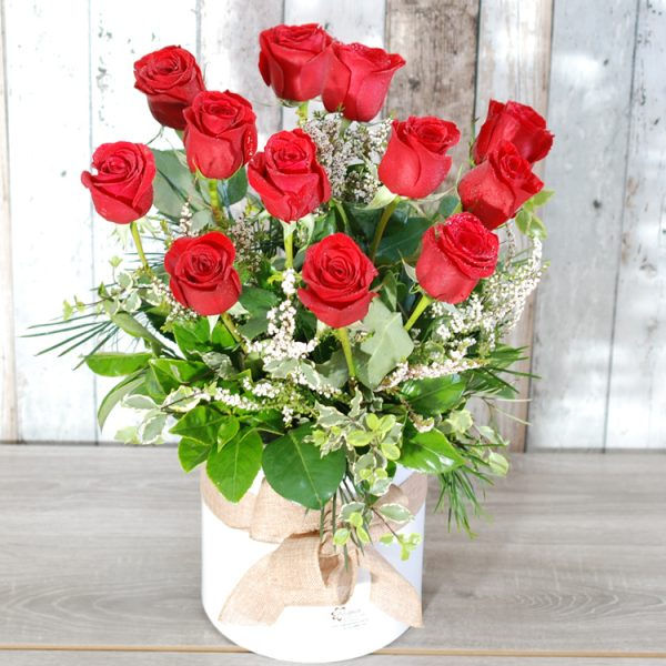 Valentine Flowers- Gorgeous 12 Long Stems Roses in Tall Hatbox