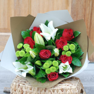 Joyful red and white bouquet