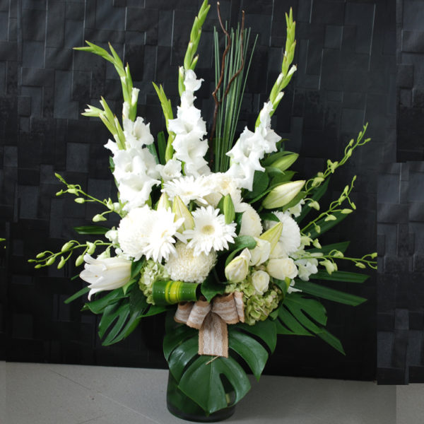 Contemporary White in Glass vase