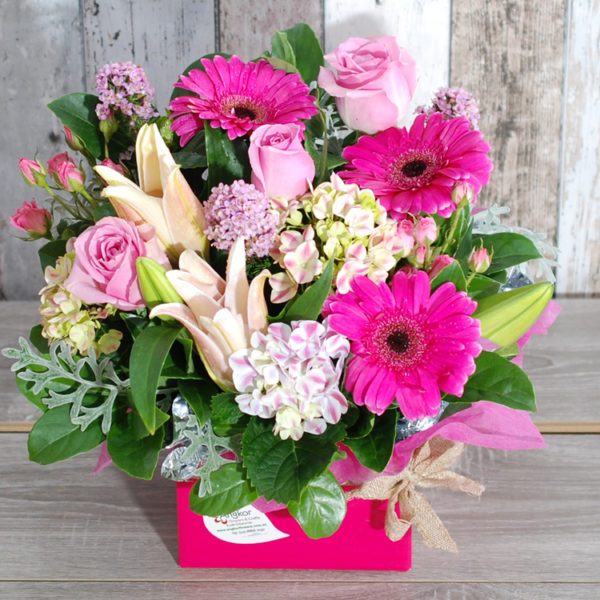 Glamour Pink Box Arrangement